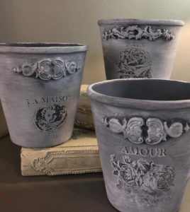 IOD moulds, clay pot makeover, how to use IOD moulds, paper clay, fusion mineral pain, iron orchid design