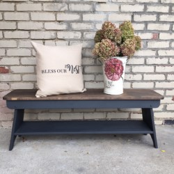 Learn how to make this 5 ft welcome bench with fusion mineral paint, stenciled pillow and metal bucket with IOD transfer