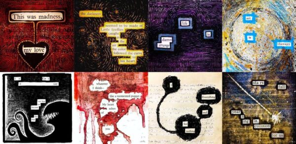 Different examples of blackout poetry to inspire your own artwork at the Extending Grace workshop with Fade into a blackout poetry