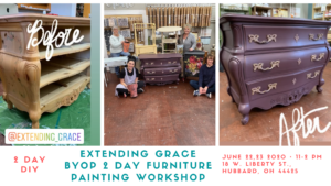 Bring your own piece of furniture to paint at Extending Grace