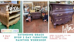 Bring your own piece of furniture to paint workshop at extendinggrace.net 4-21